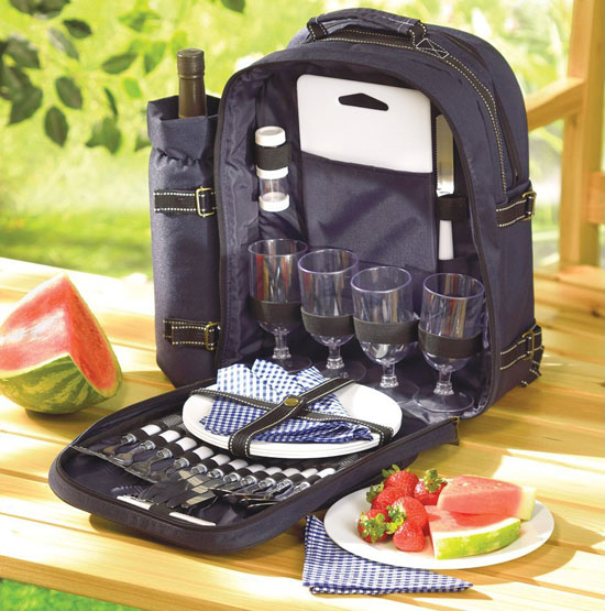 Picnic Travel Backpack Plates Cutlery Set