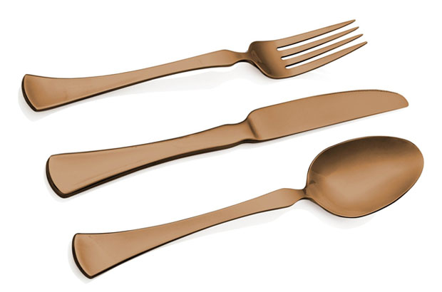 Hampton Forge Essenstahl Titanium 20-Piece Flatware Set, Refined Copper