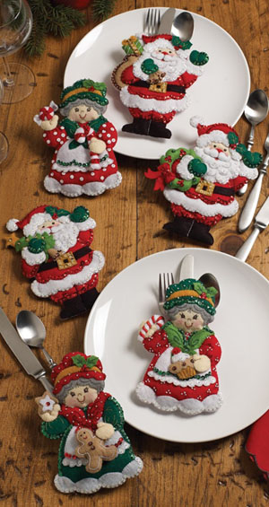 Bucilla Santa & Mrs. Silverware Holders