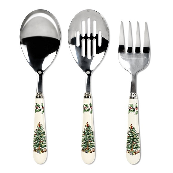 Spode Christmas Tree 3 Piece Flatware Serving Set The
