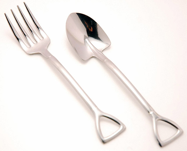 The Country Story Shovel Spoon and Fork M 2pcs Set Stainless Steel