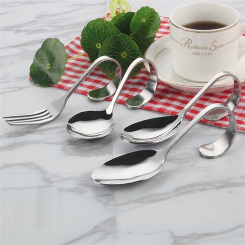 Curved Stainless Steel Fork Curved Handle Fork Spoon Salad Soup Spoon