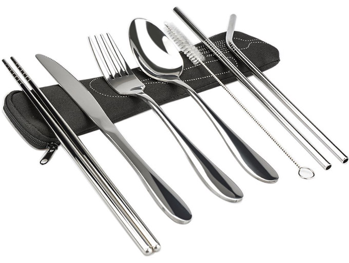 KISSWILL Stainless Steel Flatware Portable Travel Silverware