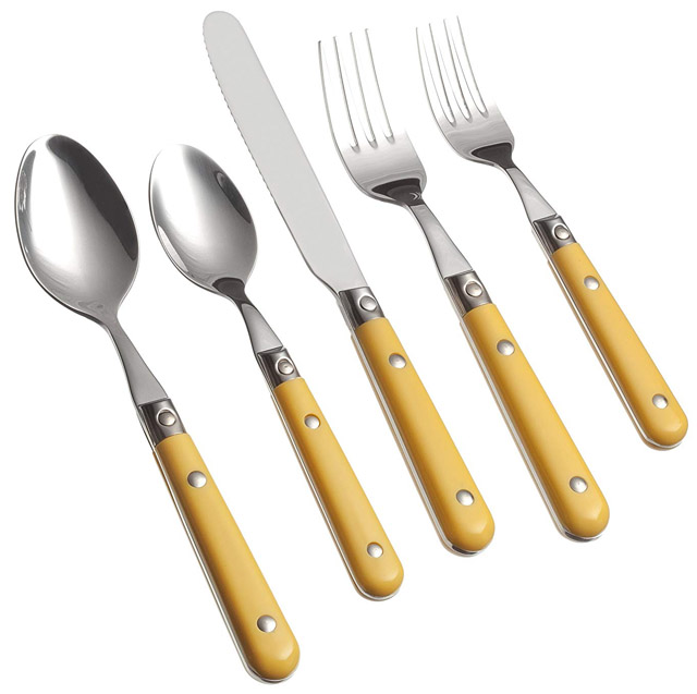 Ginkgo International Le Prix 20-Piece Stainless Steel Flatware Place Setting Mimosa Yellow