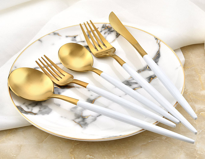 Deacory Flatware - White and Matte Gold