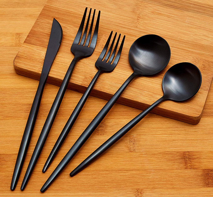 matte black cutlery by Luxware