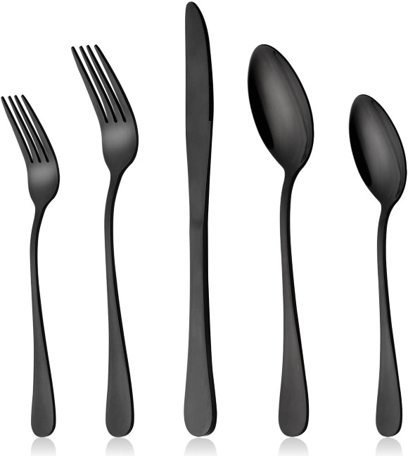 Black Silverware Set, LIANYU 20-Piece Stainless Steel Flatware Cutlery Set for 4,