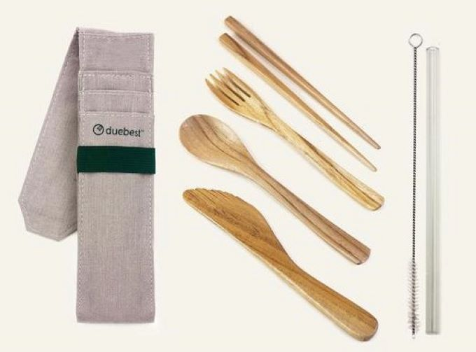 Duebest Reusable Wooden Cutlery Set and Straw