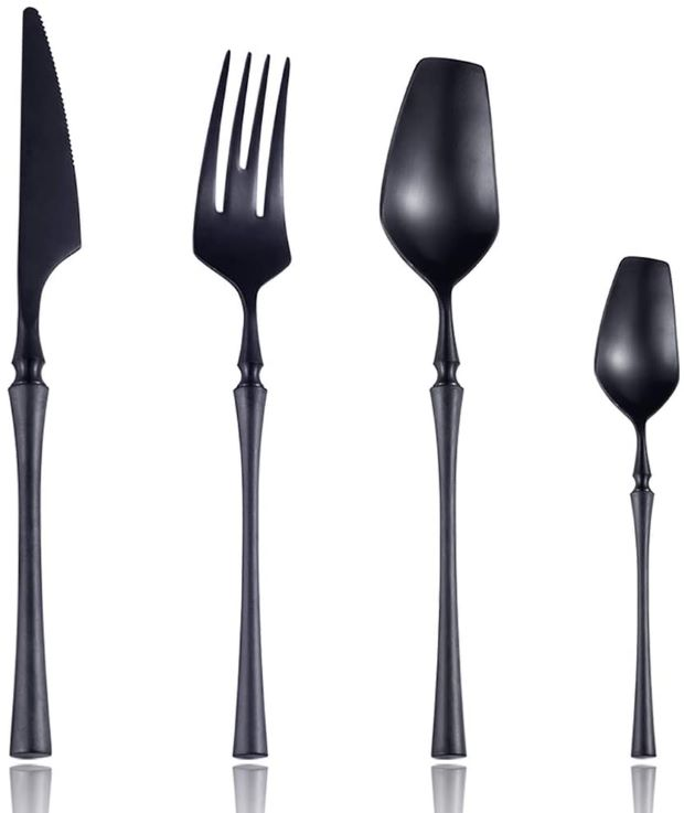 Lemeya Matte Black Silverware Luxury Flatware Cutlery for Halloween