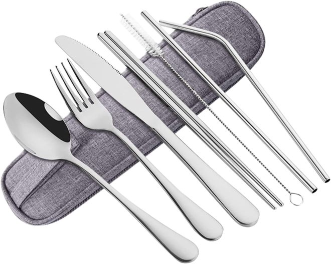 Cliusnra Stainless Steel Flatware Set: 8 Pieces Silver